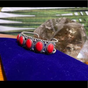 Carolyn Pollack Sterling Silver Red Coral Cuff ❣️